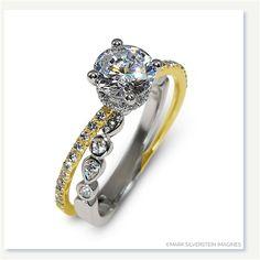 Mark Silverstein Imagines 18K White and Yellow Gold Split Shank Geometric Angled Diamond Engagement Ring