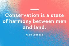 Conservation is a sttate of harmony between men and land. #QuoteOfTheDay #AldoLeopold