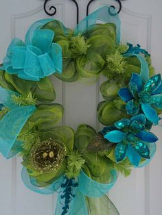 Welcome Spring Mesh Wreath - Lime Green Turquoise Teal Ice Crystal Flowers Sparkling Bird Nest & Eggs, Sequin and Velvet Leaves