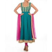 Turquoise Green Anarkali Suit with Sequins