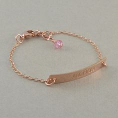 Rose Gold ID Bracelets engraved 14k yellow by SixSistersBeadworks