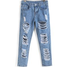 SheIn(sheinside) Blue Ripped Pockets Denim Pant (24 CAD) ❤ liked on Polyvore featuring jeans, blue, zipper jeans, pocket jeans, distressed jeans, ripped denim jeans and long jeans