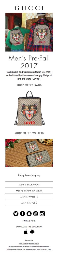 Responsive email design from Gucci Responsive Email, Men's Backpacks, Angry Cat, Email Design, Men S Shoes, Gucci, Man Shop, Bags, Handbags