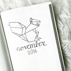 November is almost there & I kept the geometric animal theme. #bulletjournal #bujo #bulletjournaling #bulletjournaljunkies #bulletjournallove #bulletjournaladdicts #bulletjournalcommunity #bujolove #planner #agenda #dottednotebook #leuchtturm1917 #november #2016 #squirrel #geometricanimal #origamisquirrel