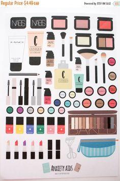 SS-1 Makeup Stickers, brushes, High end makeup Cute Planner Stickers, Diary Stickers, Calendar Stickers, Filofax Erin Condren Stickers, ECLP