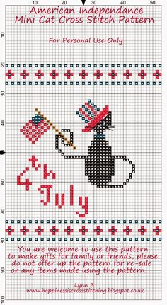 (^_^) Happiness is Cross Stitching : Freebie Friday - American Independance Day Mini Cat Cross Stitch Pattern