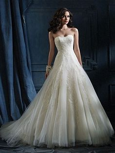 Appliqued Tulle over Satin Wedding Ball Gown.