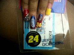 Jeff Gordon NASCAR nail art Nascar Nails, Beauty Tips, Beauty Hacks, Jeff Gordon Nascar, Celebrity Nails, Nail Fashion, Matte Nails, Guilty Pleasure, Girl Power