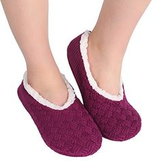 ChicNChic Women Warm Cross Knit Anti Slip Slipper Socks Casual Cotton Slip on Socks with Grippers