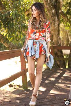 FashionCoolture - 07/21/2015 look du jour floral print jumpsuit denim Slywer (1)