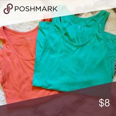 Maternity Tanks Set of two like new maternity tank tops. Coral/Aqua. Worn once. Tops Tank Tops