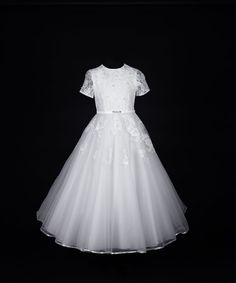 Elegant Girls Lace First Communion Dress - Short Sleeve with Princess Tulle Skirt - Martha - Ko Ko Collection - New 2015 - Girls Communion Dress Shop