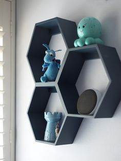 These Hexagon Shelves from @landofnod add a modern touch to the nursery!