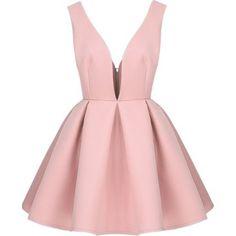 Vestido cuello pico sin espalda-rosado