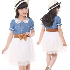 Little Hand Kids Girls Summer Clothes Denim Dress and Belt 2-7y : For Kids
