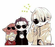 ~ Yuri one ice ~ > Makkachin - Yuri Plisetsky - Yuri Katsuki - Victor Nikiforov < Otaku Anime, Anime In, Manga Anime, Anime Kawaii, Anime Chibi, Anime Love, Love On Ice, ユーリ!!! On Ice, Yuri Plisetsky