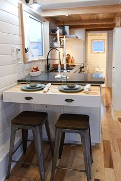 Family's Amazing Kootenay Tiny Home on Wheels This is a Kootenay Tiny House on Wheels built for a family by TruForm Tiny. It features a private loft bedroom with ceilings accessible via a custom-built, low-footprint staircas… Tiny Spaces, Small Spaces, Home, Small Kitchen, Kitchen Remodel, House Interior, Home Kitchens, Tiny House Kitchen, Kitchen Design