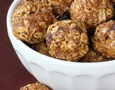 Healthy No-Bake Energy Bites:  •1 cup (dry) oatmeal   •1/2 cup chocolate chips  •1/2 cup peanut butter     •1/2 cup ground flaxseed •1/3 cup honey  •1 tsp. vanilla Refrigerate & Enjoy!❤