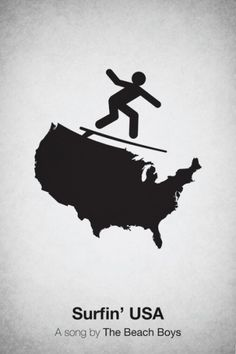 Minimalist Pictogram Song Posters: surfin usa