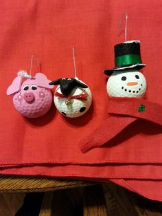Christmas Ornaments: Pig, Sheep and Snowman made from recycled golf balls.