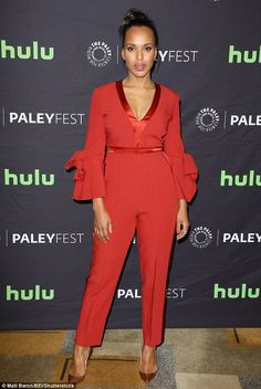 Scene-stealer: When the cast of Scandal turned up to the show's presentation at Paleyfest on Sunday, leading lady Kerry Washington was a showstopper