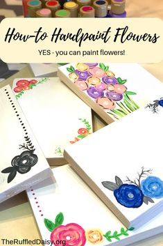 Learn How To Hand Paint Flowers The Easy Way – The Ruffled Daisy Source by moogly Painting Flowers Tutorial, Easy Flower Painting, Flower Tutorial, Diy Painting, Easy Flowers To Paint, Encaustic Painting, Painting Tutorials, Paint Your Own Pottery, Acrylic Flowers