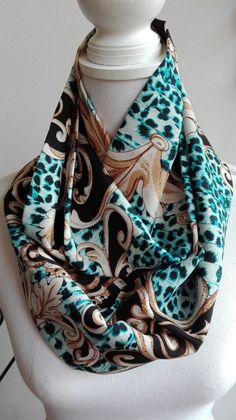 Blue/Brown Cotton Infinity Scarf circle scarf women's by Qades