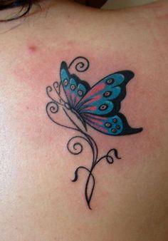 butterfly tattoo buterfly and tribal & tattoo & on . Colorful Butterfly Tattoo, Butterfly Tattoo On Shoulder, Butterfly Tattoos For Women, Blue Butterfly, Butterfly Outline, Simple Butterfly, Tattoo Shoulder, Finger Tattoos, Body Art Tattoos