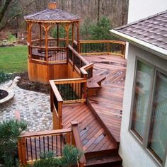 This gorgeous multi-level Ipe deck is complete with an open cedar gazebo with aluminum pickets and cedar railings. Pergola Ideas For Patio, Backyard Gazebo, Pergola Garden, Patio Roof, Deck Patio, Backyard Ideas, Outside Living, Outdoor Living, Aluminum Decking