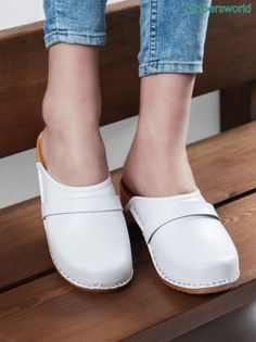 Stunning white leather Swedish clogs for women, Women wooden clogs with white leather, Wooden sole clog sandals for her, White bridal clogs Leather Slippers, Leather Clogs, Black Patent Leather, White Leather, Leather Sandals, Clogs Outfit, Clogs Shoes, Swedish Clogs, Bridal Sandals