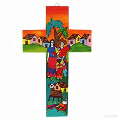 Familia Cross: Crafted in the traditional style of La Palma, this bold cross features a bright Salvadoran family. Perfect piece to hang on your wall and welcome visitors to your home! Catholic Relief Services, Bread And Roses, Works Of Mercy, Gift Of Faith, Cross Crafts, Spiritual Gifts, My Heritage, Fair Trade, Spirituality