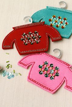 Beaded Christmas Sweater Ornaments by Erin Lincoln for Papertrey Ink (November 2015)
