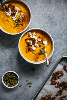 Roasted Ernut Squash Soup With Almond Ricotta And Coconut Bacon Recipe