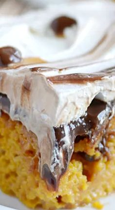 Hot Fudge Pumpkin Poke Cake.