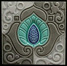 ¤ A Fantastic Moorish-Inspired Swirling Art Nouveau Design In Three Shades of Gray, Brilliant Turquoise & Blue From The Belgian Firm, Hemixsem. Art Nouveau Tiles, Art Nouveau Design, Azulejos Art Nouveau, Jugendstil Design, 1 Tattoo, Vintage Tile, Arte Floral, Arts And Crafts Movement, Decorative Tile