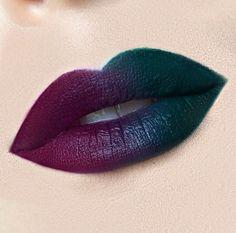 dark + colorful ombre / gradient lips: violet - blue  - green | #lip #lipart #statement makeup