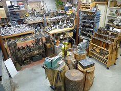 Photo tour of an amazingly well equipped silver smith shop - Jeffrey Herman Silversmith