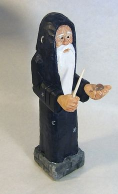 Handmade Wizard with Magic Wand and Crystal by ClaudesWoodcarving
