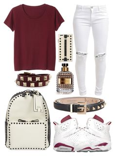 """Maroon 6"" by neilaninewsome ❤ liked on Polyvore featuring Monki, NIKE, Valentino and FiveUnits"