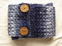 Button Infinity Scarf in Blues with Sparkle (35.00 USD) by WarmingHeartsB1G1