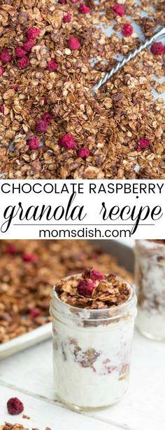 Easy granola recipe with raspberry and chocolate. Great with yogurt.