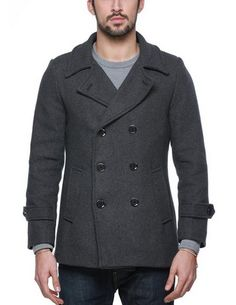 awesome Mens Wool Classic Pea Coat Winter Coat - For Sale Check