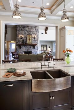 Kitchen Design by Drury Design/Janie Petkus #fireplace #livingroom