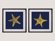 Gold Starfish Wall Art Navy Gold Home Decor by BeachHouseGallery, $19.99