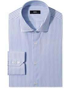 Hugo Boss - Blue Stripe Long-Sleeved Shirt. | #Men, #Hugo_Boss