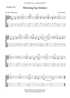 Free Ukulele Sheet Music | Free Sheet Music Scores: Morning has broken, free ukulele tab sheet ...