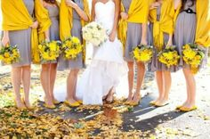 Grey is a stunning wedding color for the spring and summer and it pairs beautifully with yellow! Grey is a fairly subtle and subdued color which makes a touch of yellow really pop.