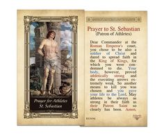 Laminated Holy Cards : Prayer for Athletes St. Sebastian Laminated Holy Card