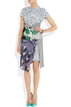 Michael van der Ham|Layered printed silk-blend dress|NET-A-PORTER.COM