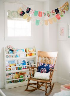 Sweet baby girl room. I love how light and bright it is. The bunting is so cute!